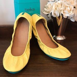 Tieks yellow patent flats